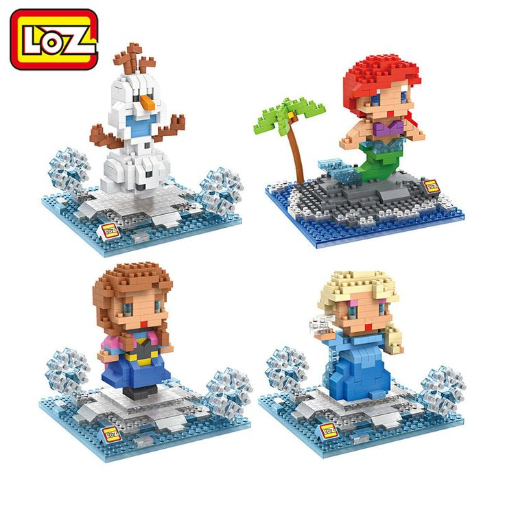 LOZ Princess Ariel Elsa Anna Olaf Toy Doll Building Block Model Adornment Decoration Gift Original Retail Box Wholesale
