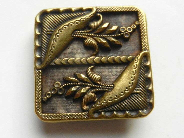 Victorian Antique Brass Metal Button Square with Beautiful Floral Pattern
