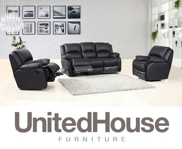 Black Recliner Leather Lounge 3+1+1 Suite Sofa Couch Recliners Furniture Setting