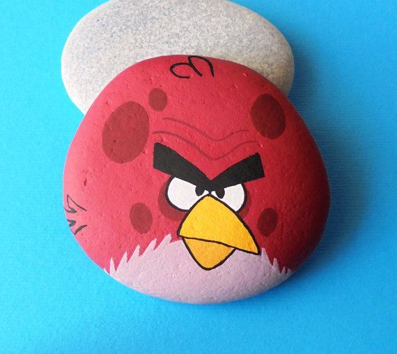 Angry+Bird+Hand+Painted+Stone++Is+Painted+with+high+quality
