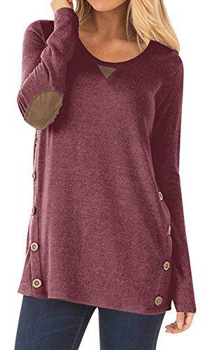 6f6dc634432 Women's Long Sleeve Blouse Button Decor Casual Loose Tunics T-Shirt Tops  Light #fashion