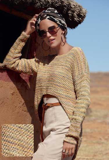 Описание вязания на спицах асимметричного пуловера из журнала Verena 2/2015.