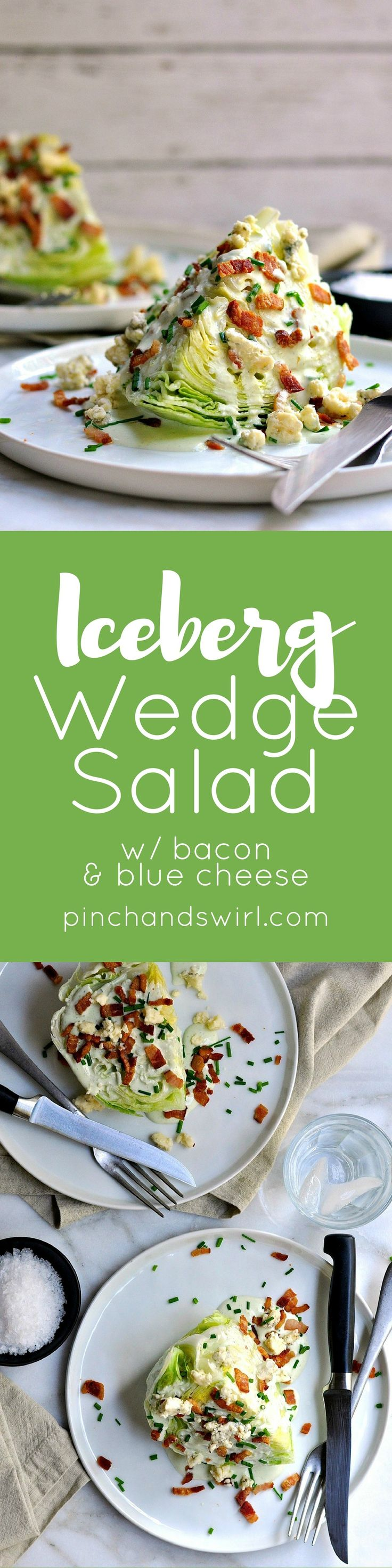 The Iceberg Wedge Salad is a classic American steakhouse salad that is as easy as it is delicious! Crunchy iceberg lettuce, crispy bacon and the quintessential wedge salad dressing: creamy-tangy blue cheese. Make these for a couple of a crowd in minutes.