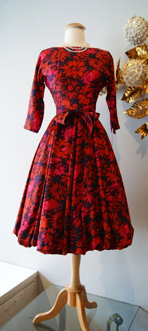 1950s Dress // Vintage 50s Red Floral Bubble by xtabayvintage, $198.00