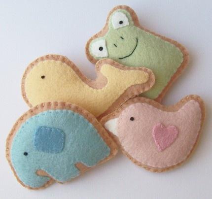 Adorable Set of 4 Felt Animal Cracker Cookies - Wonderful Gift Idea