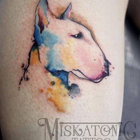 Bull terrier para Juan Pedro, hecho por @marilen_adrover #bullterrier #bullterriertattoo #dog #dogtattoo #watercolor #watercolortattoo #acuarela #art #artist #ink #inked #tattoo #tatuaje #stencilstuff #wrathtubes #envyneedles #tatsoul #barberdts #miskatonicmanacor #mallorcatattoo #manacor #tattoospain #igersmallorca #nofilter #instatattoo #instalike