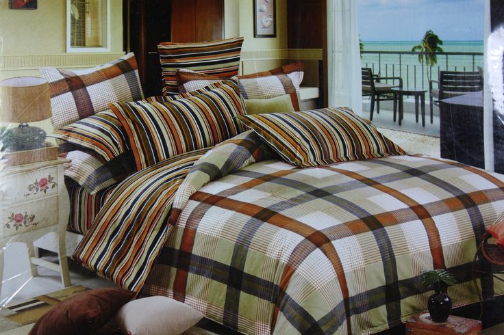 Perfect example of elegance and classiness, this Co-ordinated pattern Bed Linen Set in brown and black colored Checks will give an Elegant look to your Bedroom. Comes with a Striped pillow cases will add just the right contrast and style. The 3 piece set in fine quality Cotton fabric of Size 275*275cm is perfect for Queen and King Size Beds. This set will definitely add a unique charm to your Bedroom and co-ordinate well with all Interior types.