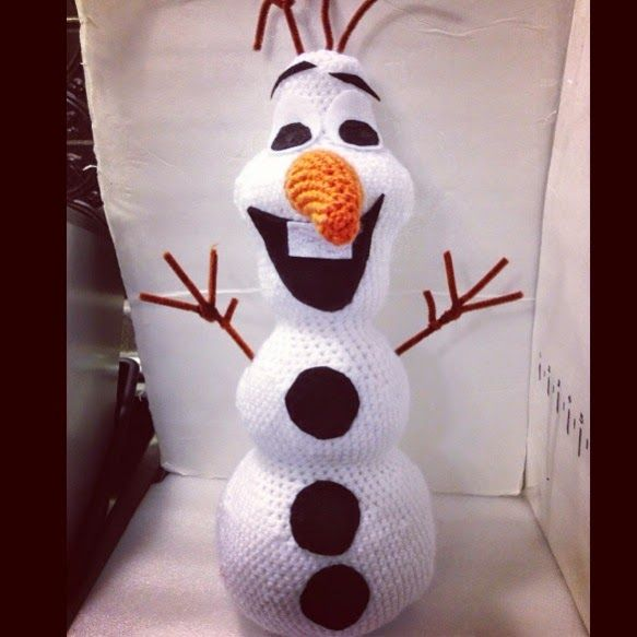 When I think of summer (or winter?) I think of Olaf from Frozen. Try this crochet, huggable-sized Olaf pattern from the Ginger Beast. Try using Vanna's Choice or Wool-Ease yarn.
