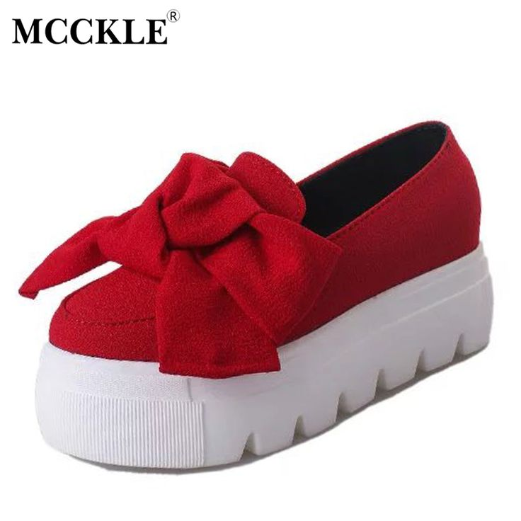 MCCKLE Women Fashion Butterfly Knot Spring Autumn Flat Platform Shoes Female Shallow Slip On Flock Creepers Footwear Shoes Black #Affiliate