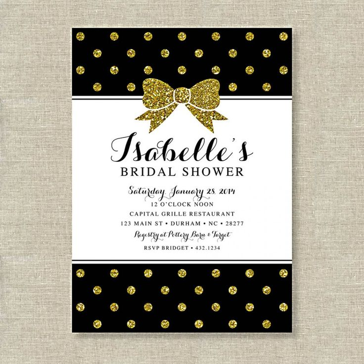 Gold Glitter Polka Dot Bow Bridal Shower