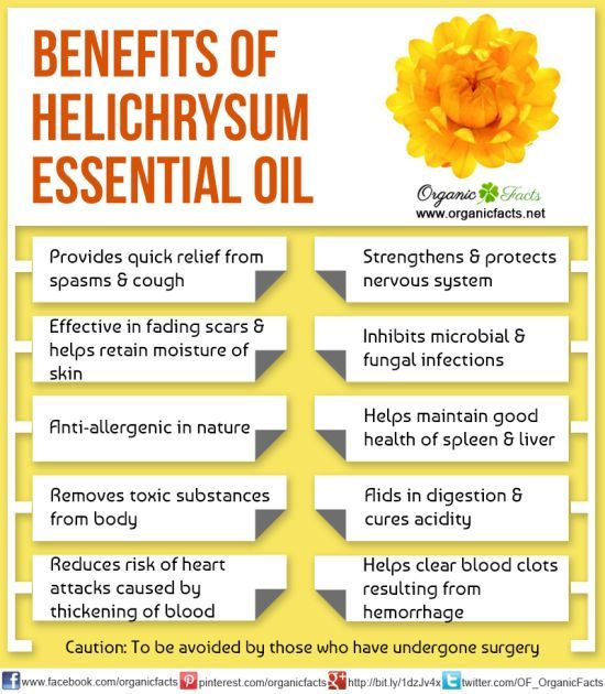 The health benefits of Helichrysum Essential Oil can be attributed to its properties like anti spasmodic, anti coagulant, anti allergenic, anti microbial, anti haematoma, anti phlogistic, nervine, anti inflammatory, anti tussive, cicatrisant, expectorant, febrifuge, anti septic, cholagogue, emollient, mucolytic, fungicidal, hepatic, diuretic, splenic and cytophylactic.
