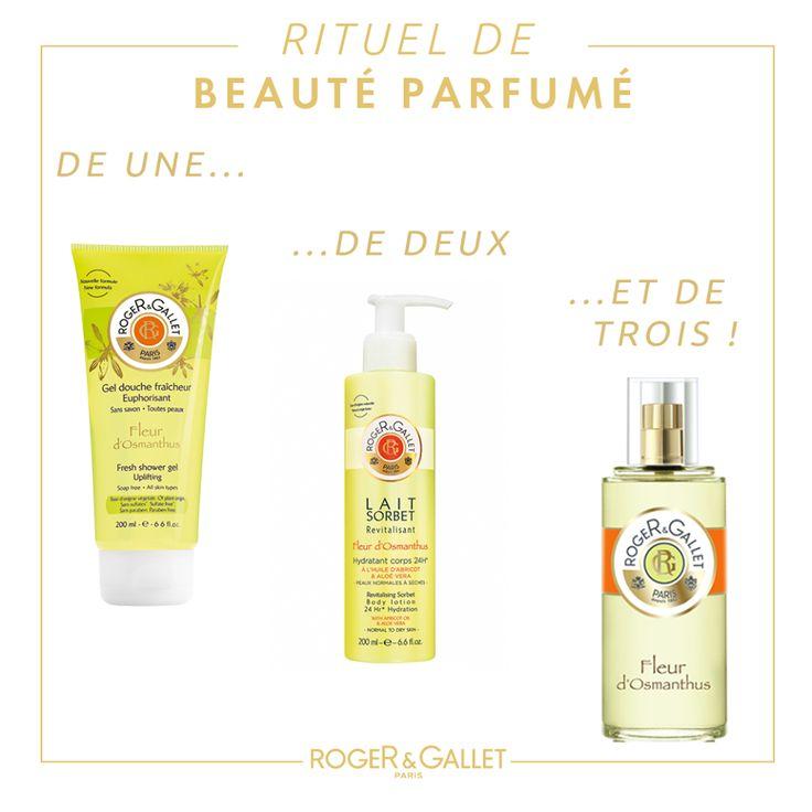 Roger & Gallet Fleur d'Osmanthus shower gel, body lotion and perfume #roger&gallet