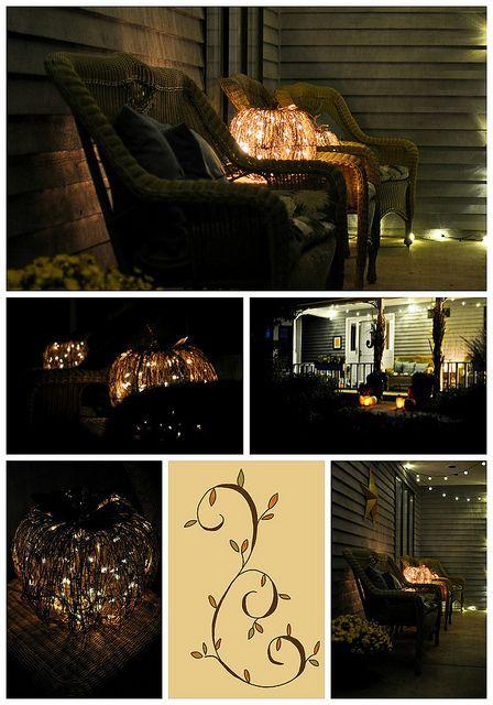 fall front porch at night