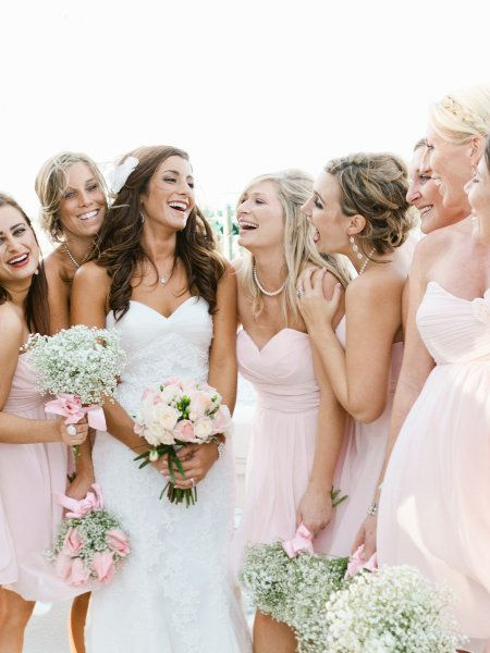 I love baby's breath....using it as a bouquet for the bride's maids looks better than I thought it would