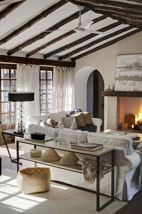 beamed ceiling, white living room, fireplace