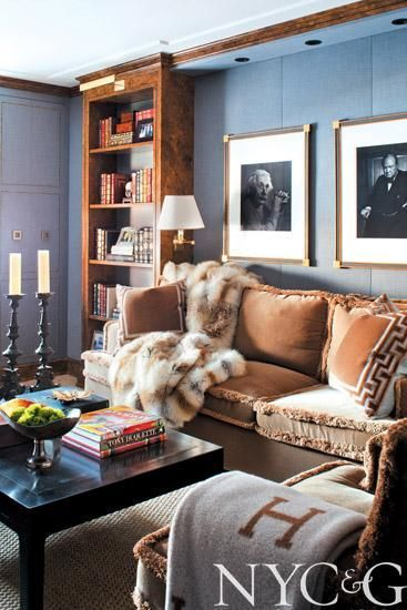 Oh so sumptuous grey-blue and caramel den on Park Avenue by designer Mark Epstein.