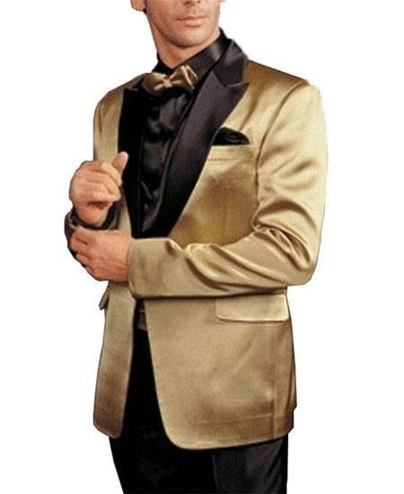 087729396122 SKU#GD1777 Alberto Nardoni Gold and Black Lapel ~ Champagne Sport Coat ~  Wedding Blazer Tuxedo Dinner Jacket