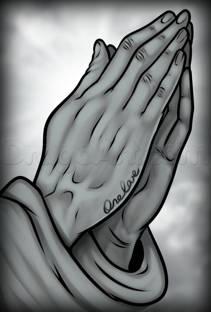 how to draw praying hands tattoo
