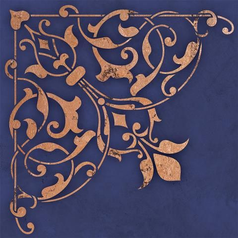 Accentuate a light fixture or decorate the ceiling above your dining table with the Arabesque Corner Ceiling Stencils. Use the Arabesque Ceiling Stencil Set for