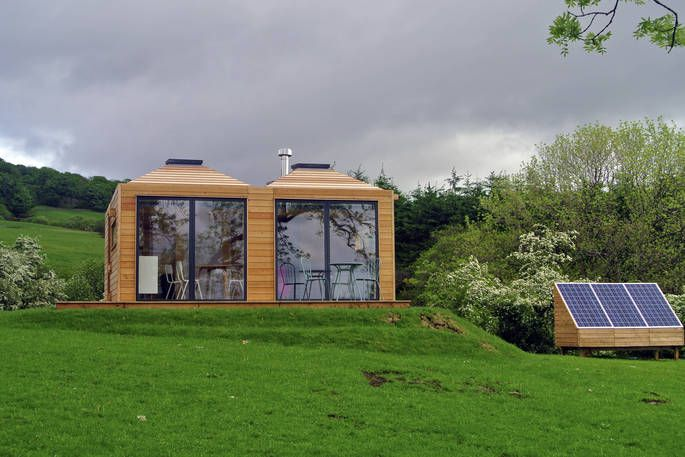 Burnhead Bothies Front Exterior View With Solar Panels Bothy Canopy Outdoor Structures