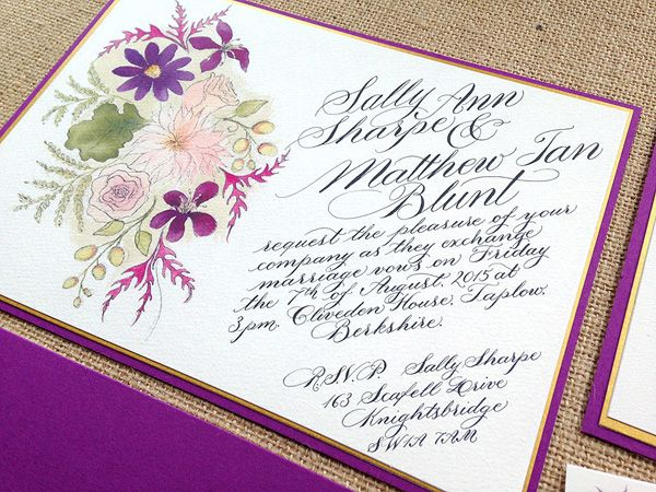Watercolour wedding invitation collection - printed from a handwritten original, bespoke designs available
