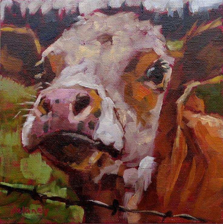 Koe 143 schoonheid school drop-out kleine origineel koe olieverfschilderij door Jean delaney formaat 6 x 6 duim op 1/8 inch premium canvas scherm door JeanDelaneyart op Etsy https://www.etsy.com/nl/listing/475197705/koe-143-schoonheid-school-drop-out