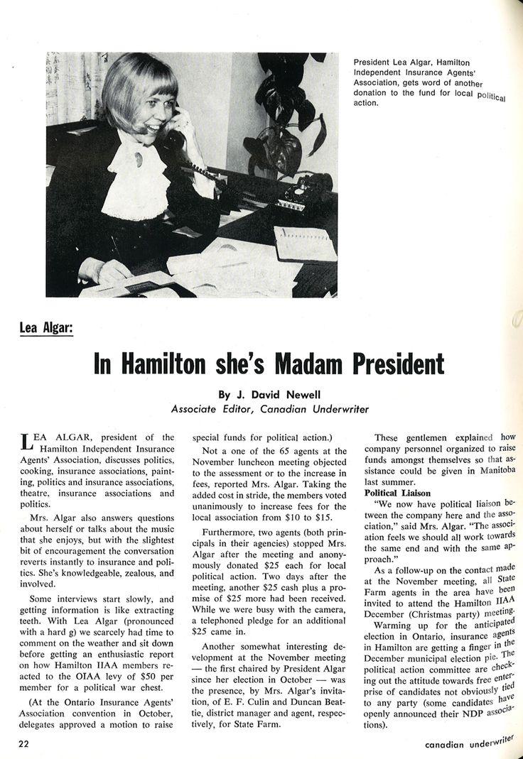 Lea Algar as a presedent of the Hamilton Independent Insurance Agents Association, 1970