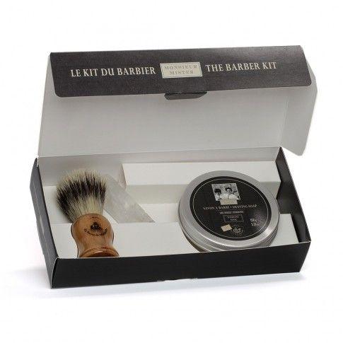 Kit blaireau, pierre alun, savon à barbe 150g Gamme Mister