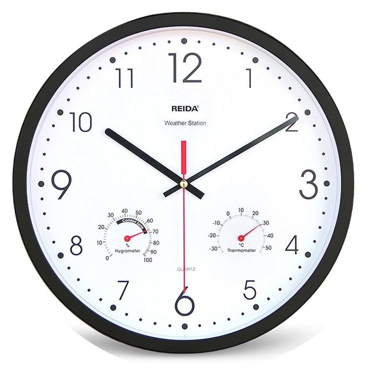 13 Inch 325cm Brief Style Modern Large Wall Clock With Thermometer Hygrometer Mute Non Tick