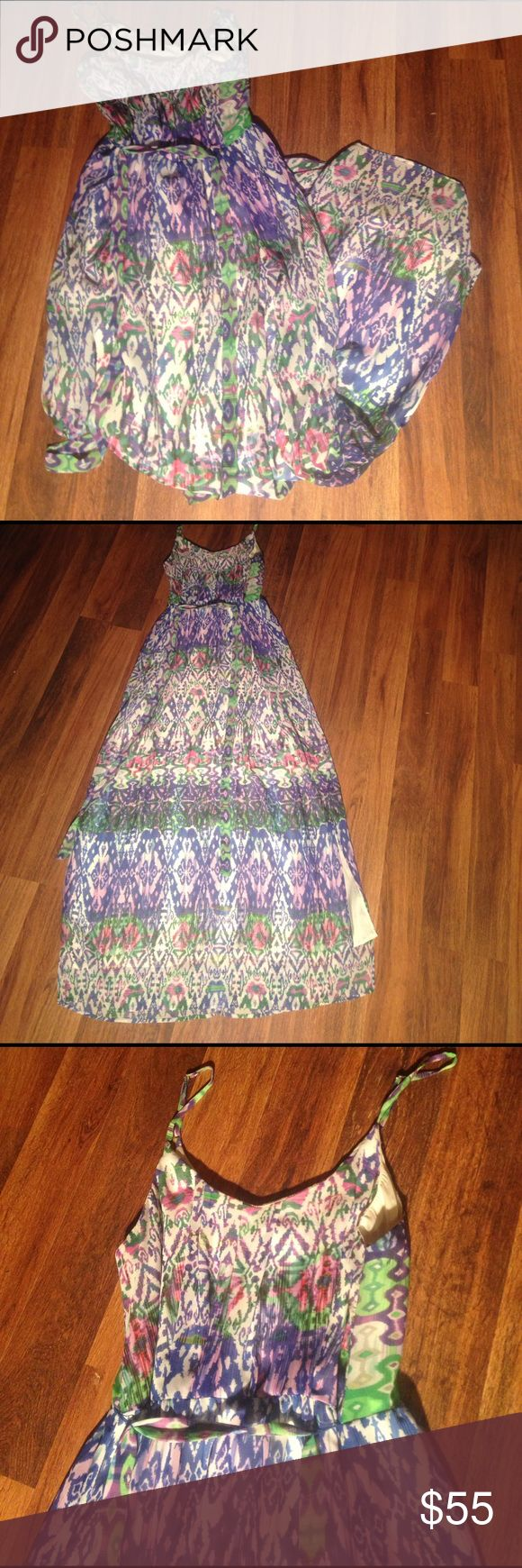 """Only worn once Charlie jade dress Charlie Jade multi color dress, mostly green, pink and purple though. Size medium. Bought for my brothers wedding and that was the only time it was worn. Still in like new condition. Was very comfortable and light weight. Has slits 14 1/2"""" up the sides. Top layer is see through but has a bottom silk layer. Adjustable spaghetti straps. Zips up the back and ties around the waist. 35"""" from armpit to top of slit. 50"""" from armpit to bottom hem. 20 1/2"""" from…"""