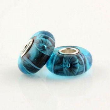 Silver Colored Glaze Blue Riverstone bead - Glass Silver Beads I (7*14) - Beads - LYDIA JEWELLERY