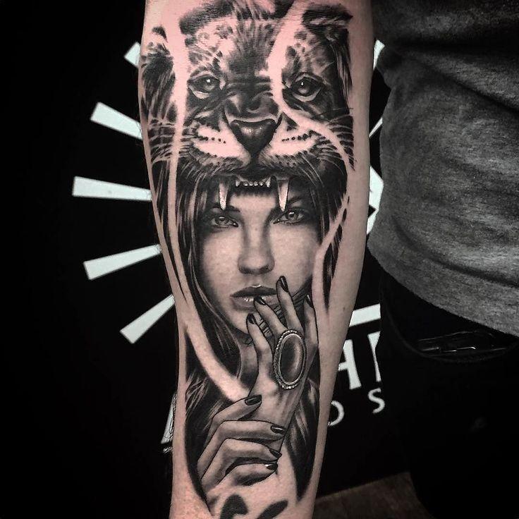 #Repost @alchemytattoomelbourne  Lion girl by Pete @pjscriv down at the hawthorn store. #lion #tattoo #tattoosofinstagram #tattoomelbourne #melbournetattoo #melbourne #headdress #girl #girlhead #inkers_downunder #blackandgrey #greywash #ink #inked #inkformer