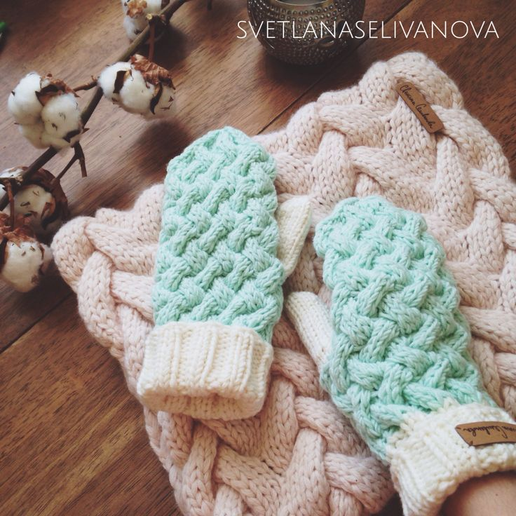 Knitted mittens and snood
