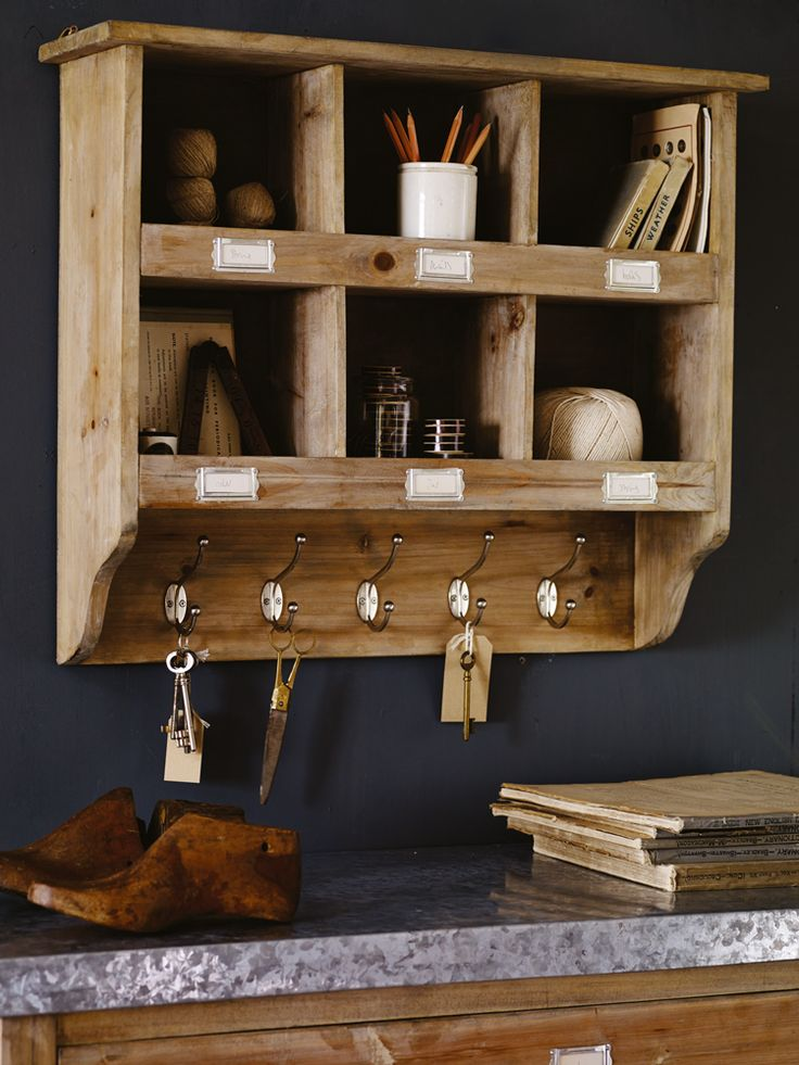 Wooden Box Unit with Hooks | Cox & Cox