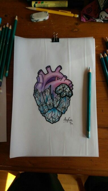 Neo Traditional Crystal Heart tattoo design by Amy Rose - Australia. #tattoo #art