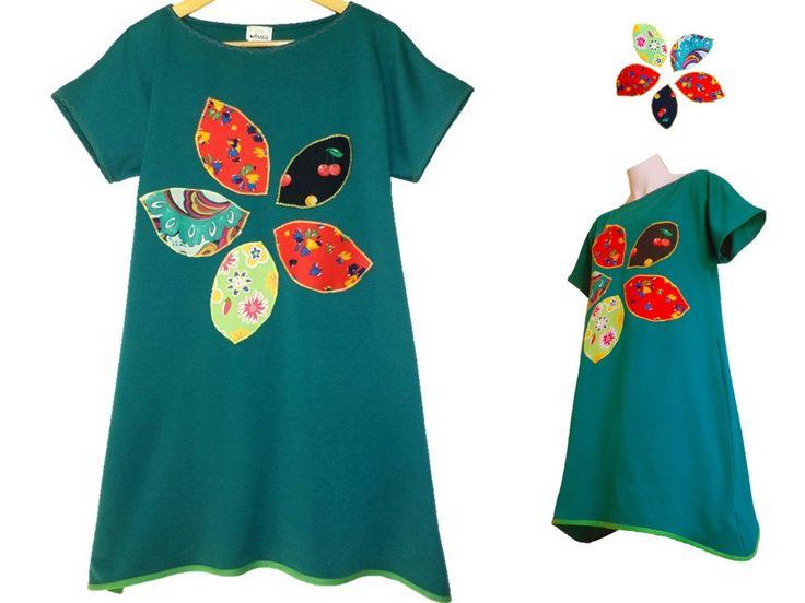 rochie verde, rochie flori, rochie cu floare aplicata, rochie tunica