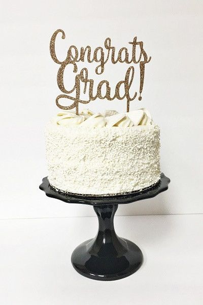 Congratulate your grad with this super cool cake topper! - 1 Acrylic Cake Topper - 4 IN Tall x 6 IN Wide - Food Safe - Handwash Only Comes in custom colors - email us: sandy@jollity.co