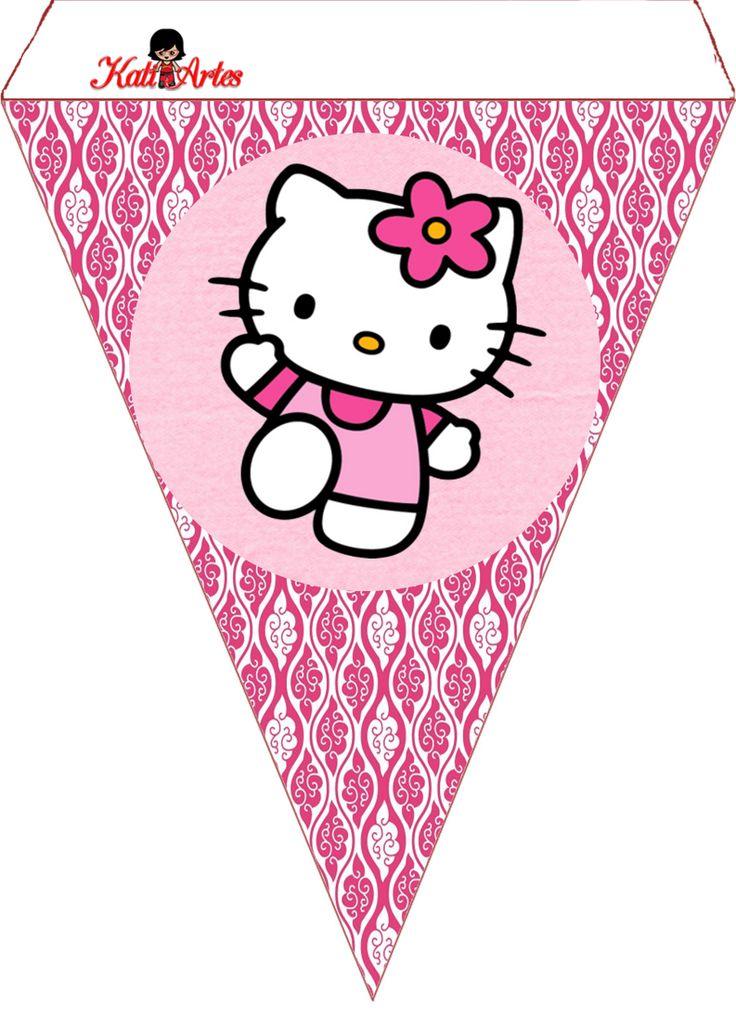 Hello Kitty Free Printable Bunting. Banderines de Hello Kitty.                                                                                                                                                     Más