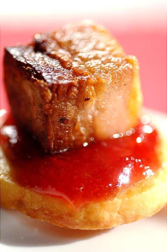 Crispy pork belly with peach sauce
