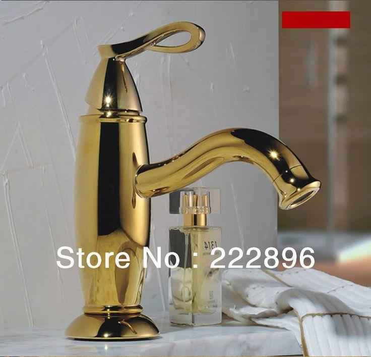 Золото смесители для твердой латуни медь золото раковины ванной комнаты бассейна кран сантехника нажмите санузел золочение Faucets
