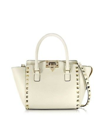 LIGHT IVORY LEATHER MINI DOUBLE HANDLE BAG VALENTINO