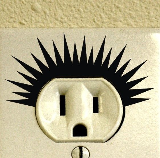 Set of 12 Electric Power Outlet Shock Decals Punk Haircut Style Vinyl Home Wall Decor Hairstyle Sticker