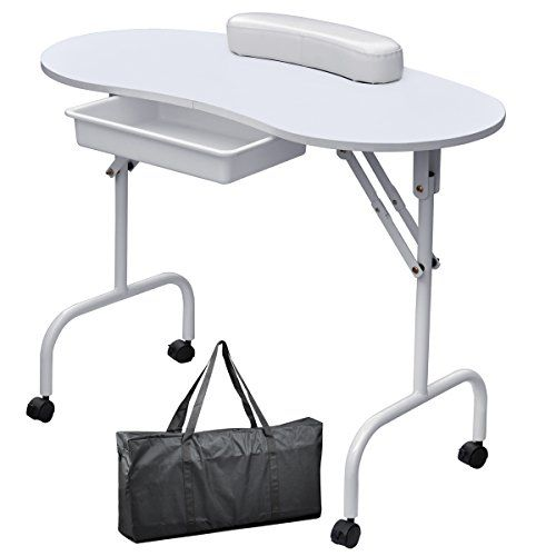 Easyfashion portable foldable manicure table nail for Folding nail technician table