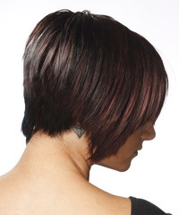 The back of this hairdo is tapered into the neck with jagged layers cut around the sides and through the top to form this fantastic shape which is best suited for those with naturally straight hair.