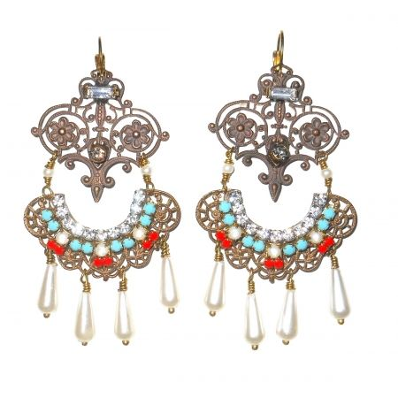 Lella Earrings  brass filigree tuorquoise an coral crystal Swarovski on sale on www.federicasalvatorifranchiit