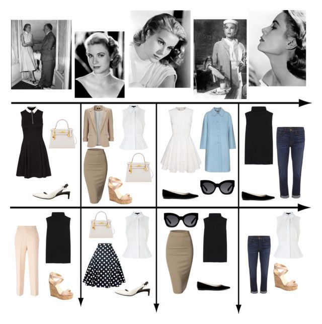 """15 Item Capsule Wardrobe (Style Icon Grace Kelly)"" by minimaliststylist ❤ liked on Polyvore featuring J Brand, MSGM, Hermès, Doublju, Alexander Wang, The Row, New Look, Miu Miu, Wallis and COSTUME NATIONAL"