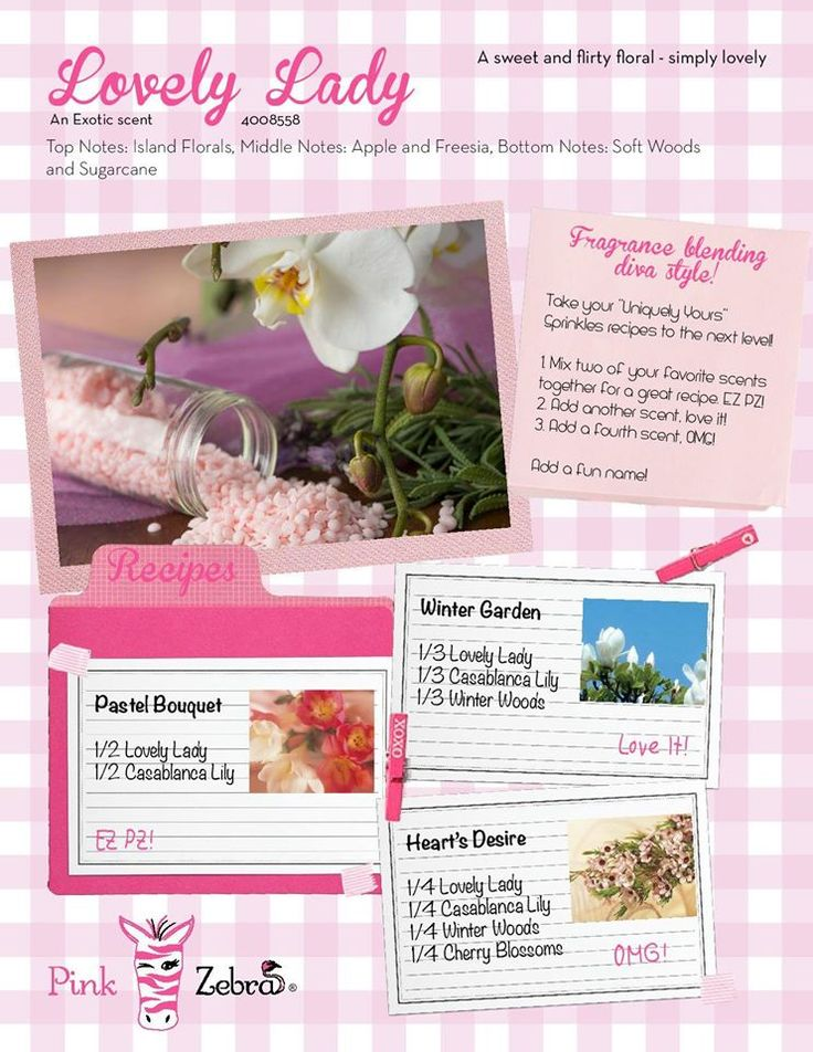 Lovely Lady is a fabulous new scent from Pink Zebra Home.  Check out these recipe ideas for our soft soy sprinkles!