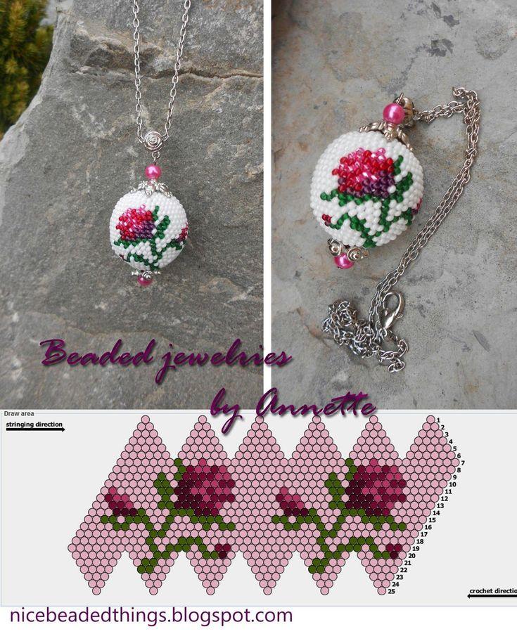 Гарненькі бісерні штучки | Beaded jewelries by Annette: Троянда королеви Вікторії: кулон