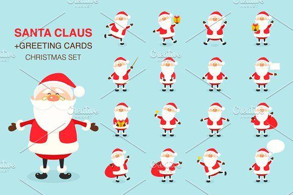 Santa Claus. Christmas set.  by gomolach on @creativemarket