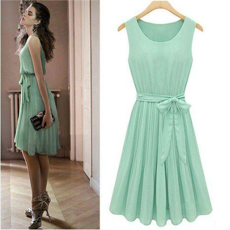 Free shipping - New Women's Lady Elegant Sleeveless Pleated Chiffon Vest Dress Price:$29.95 http://www.tripleclicks.com/15109879/detail.php?item=254411
